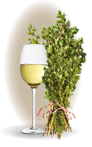 Wine glass with herbs