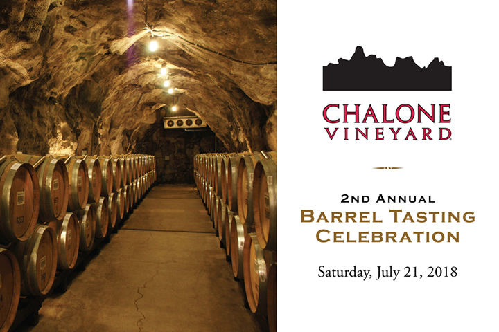 Chalone 2nd Annual Barrel Tasting Celebration - Saturday, July 21, 2018 from 2-5pm