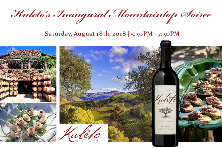Kuleto's Inaugural Mountaintop Soiree - Saturday, August 18 from 5:30-7:30pm