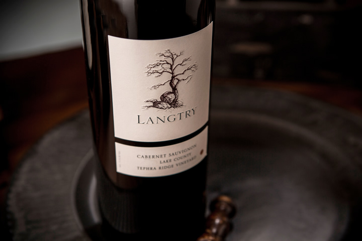 Langtry Estate close up of wine bottle and wine label