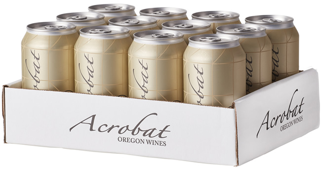 12 pack of Acrobat Chardonnay 375ml wine cans