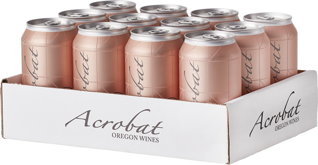 12-pack of Acrobat Rose 375ml wine cans