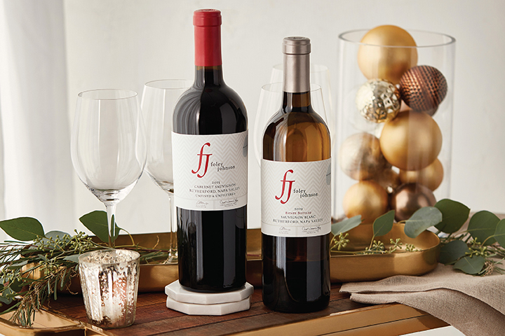 A Bottle Each of Foley Johnson Red and White Wine