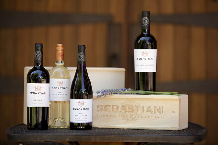 Bottles of Sebastiani wine on fancy wood crate
