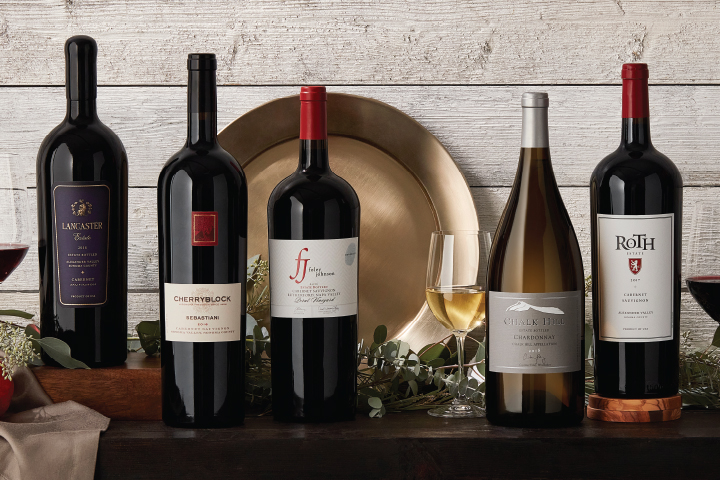 Five Luxurious Wine Magnums in Holiday Setting