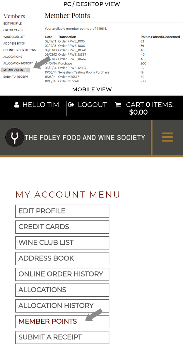 How to View Foley Food & Wine Society Loyalty Points