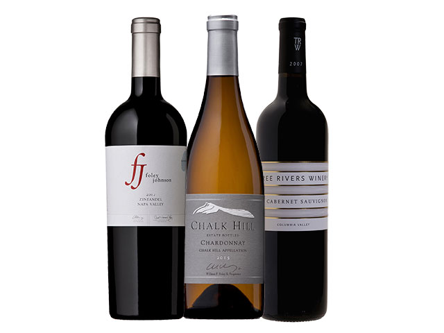 3 Bottles of mixed red and white wines from Foley Johnson, Chalk Hill, and Three Rivers
