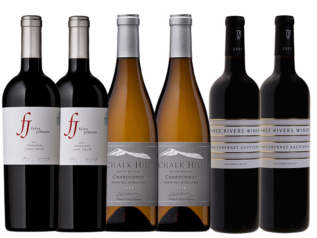 6 Bottles of mixed red and white wines from Foley Johnson, Chalk Hill, and Three Rivers