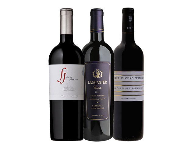 3 Bottles of red wine from Foley Johnson, Lancaster Estate, and Three Rivers