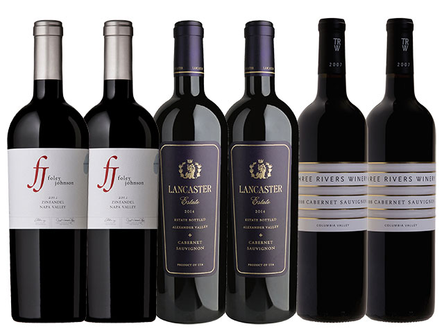 6 Bottles of red wine from Foley Johnson, Lancaster Estate, and Three Rivers