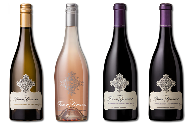 4 Bottles of Mixed Red, White and Rose Wines from The Four Graces