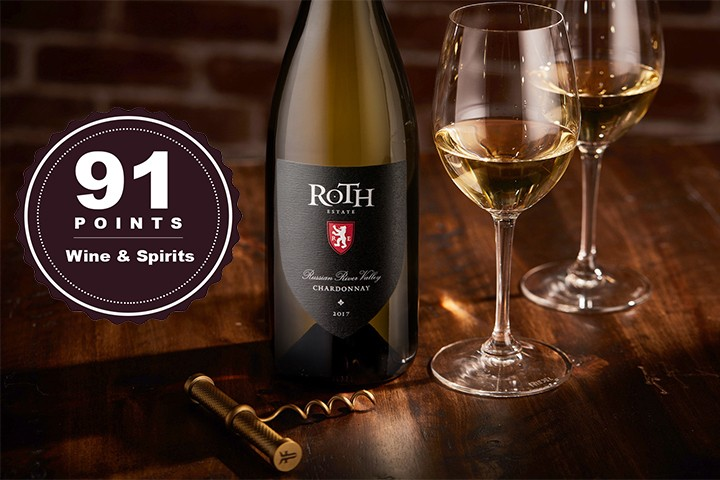 Bottle of Roth Reserve Chardonnay and 2 wine glasses
