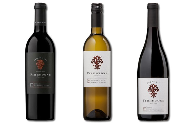 3 Bottles of mixed red and white wines from Firestone Vineyard