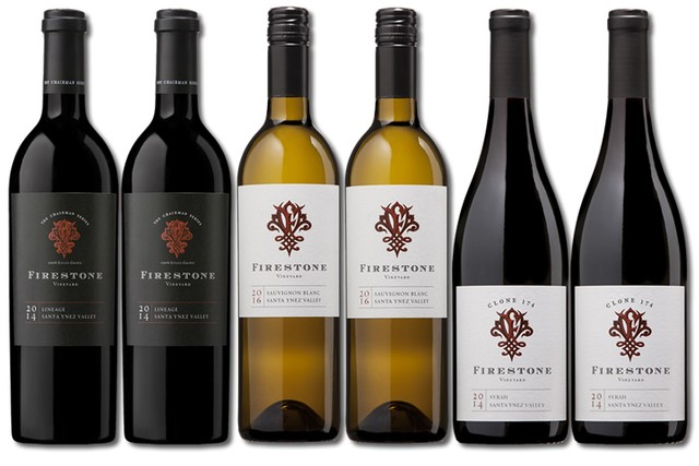 6 Bottles of mixed red and white wines from Firestone Vineyard