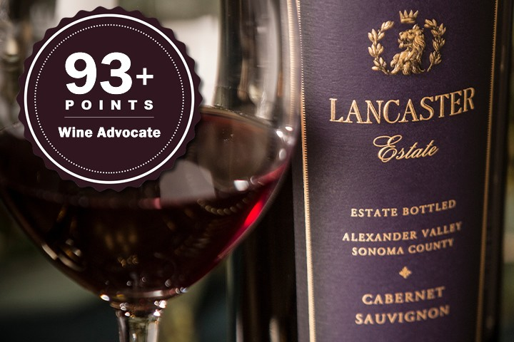 Bottle of Lancaster Cab and wine glasses