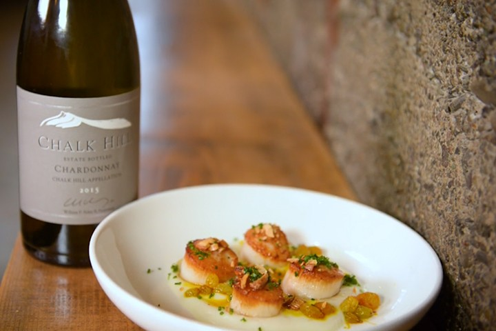 Prepared plate of Seared Dayboat Scallops to pair with Chardonnay wine
