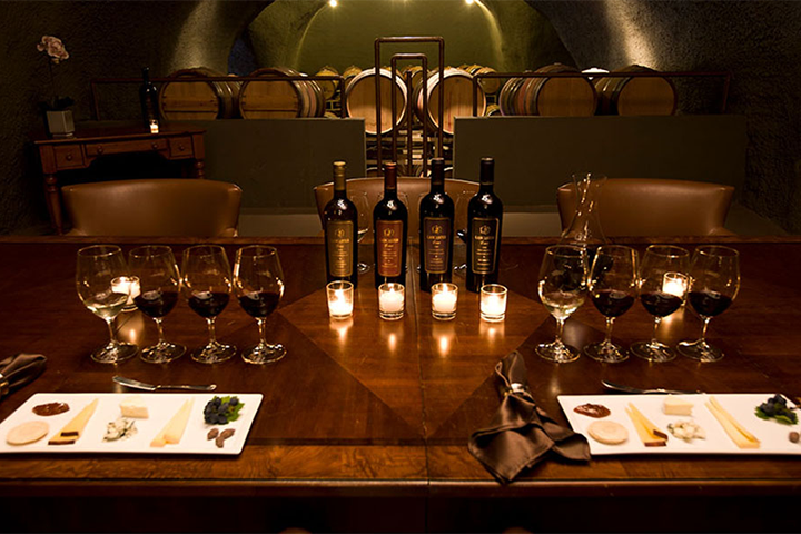 Line-up of Lancaster Wine Bottles and filled wine glasses ready for a tasting