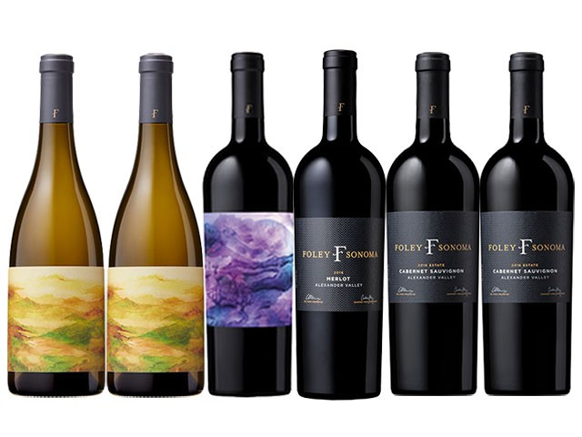6 bottles of red and white wines from Foley Sonoma