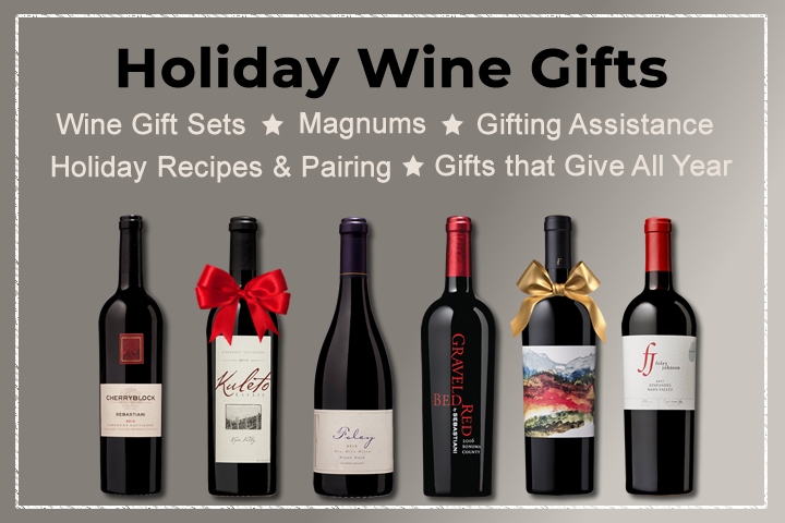 Holiday Wine Gifts - Lineup of 6 wine bottles with bows