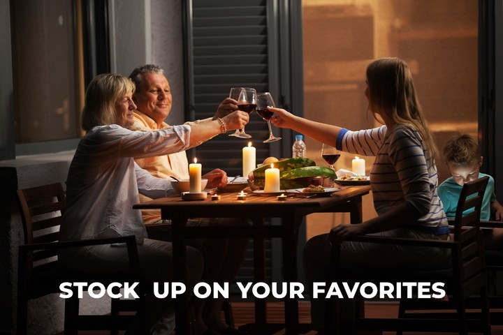 Family Enjoy Wine with Dinner at Home