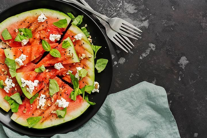 Grilled Watermelon with Feta and Basil